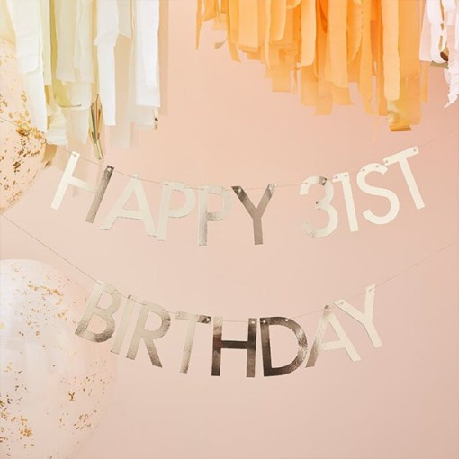 Buchstaben-Girlande ''Happy Birthday'', gold, zum Selbstgestalten, 2x Ziffern 0-9, 11 x L 150 cm, Dekobeispiel 2