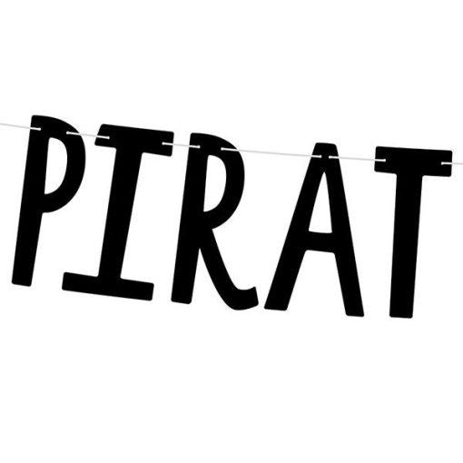 Buchstabengirlande ''PIRATES PARTY'' und Totenkopf, schwarz, 14 x 100 cm, Detail