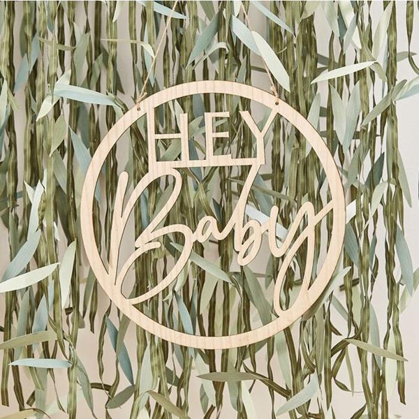 Cutout-Schild ''Hey Baby'', Holz natur, D 36 cm, Dekobeispiel