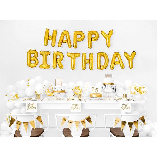 Folienballon-Schriftzug ''HAPPY BIRTHDAY'', gold, 340 x 35 cm, Dekobeispiel