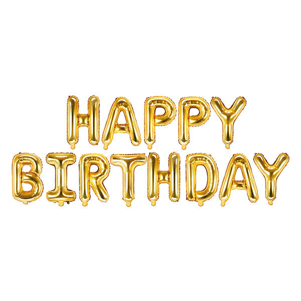 Folienballon-Schriftzug ''HAPPY BIRTHDAY'', gold, 340 x 35 cm