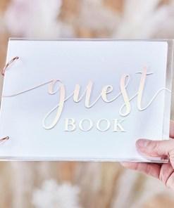 Gaestebuch ''guest book'', Acryldeckel transparent, Metallic Druck rosegold, 2 Binderinge, 32 Seiten, 18 x 22 cm, Dekobeispiel