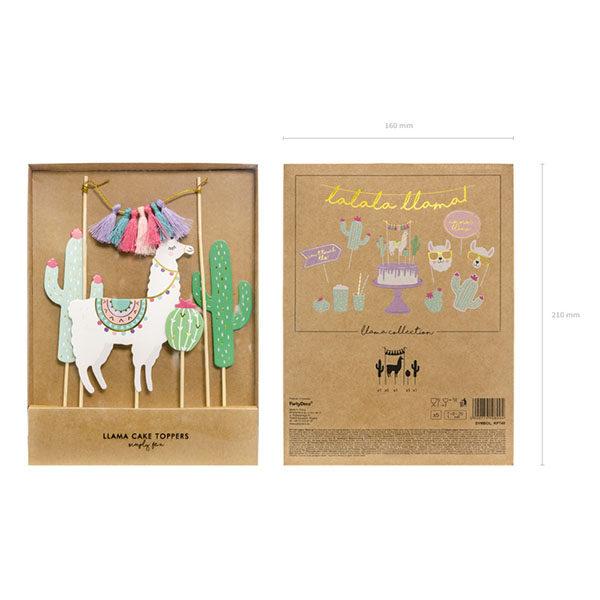 Kuchentopper ''Llama'', Lama, Kakteen, Quastengirlande, Holzstecker, 5er Pack, 9 - 20 cm, Packung