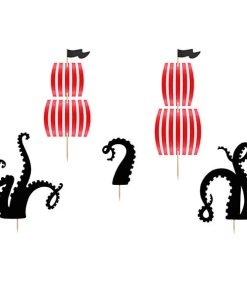 Kuchentopper ''PIRATES PARTY'', 2x Segel u. 3x Oktopusarme, auf Holzstecker, 13,5 - 21 cm