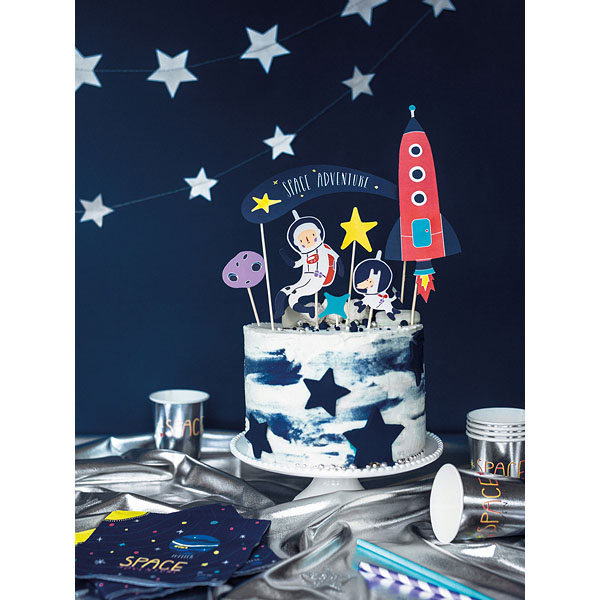 Kuchentopper ''SPACE PARTY'', Rakete-Astronaut usw. sort., Holzstecker, 7er Pack, 4 - 19 cm, Dekobeispiel