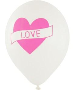 Latexballon weiß mit pinkem Herz und LOVE-Aufdruck