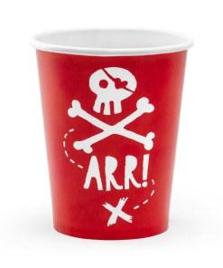 Pappbecher ''ARR!'' und Totenkopf, rot-weiss, 6er Pack, D 7,5 H 9 cm, 220 ml