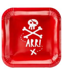Pappteller ''ARR!'' mit Totenkopf, quadratisch, rot-weiss, 6er Pack, 20 x 20 cm