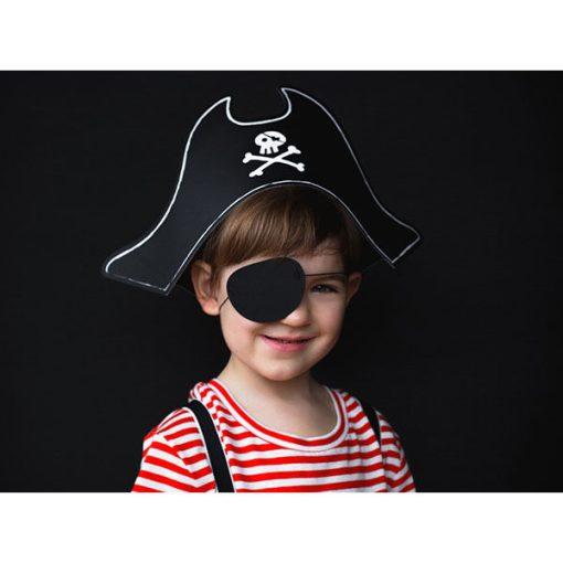 Partyhuete ''Pirate's Hat'', Piratenhut und Augenklappe, Pappe, 40,5 x 15 cm, Beispielbild