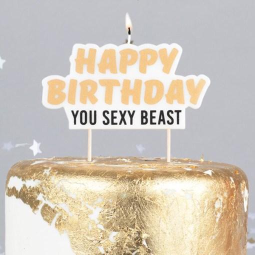 Schriftzug-Kerze ''Happy Birthday You Sexy Beast'', weiß, gold-schwarz, 12 x H 6 cm