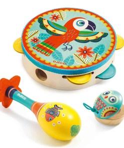 Animambo Instrumenten 3er-Set, Tambourine, Maracas, Castanette, Holz bunt, Tiermotive