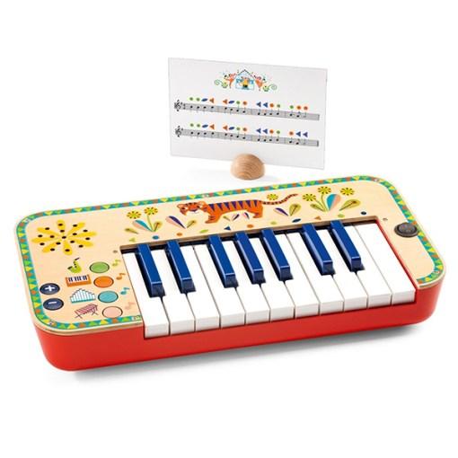 Animambo Synthesizer, Keyboard, Holz, Kunststoff, bunt, Tiger, 36,5 x 19 x 5 cm