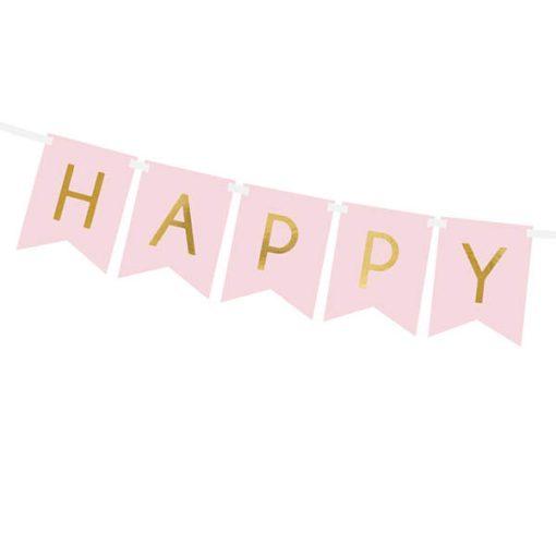 Fahnenkette HAPPY BIRTHDAY, Pappe rosa, Schrift gold, 15 x 175 cm, Detail
