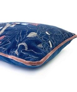 Kissen ''Tess'', Bezug inklusive Innenkissen, blau, Samt, 100% Baumwolle-Velour, 35 x 50cm, Detail