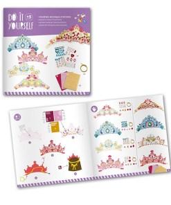 Krone selbst machen, Prinzessin, Diadem, Krone m. Steinen, Aufklebern, Schablonen, 26 x 12 cm, Booklet