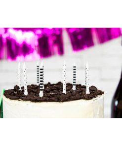 Kuchenkerzen mit Stecker, schwarz-weiss, Punkte + Querstreifen sort., 6er Pack, L 6,5 cm, Beispielbild