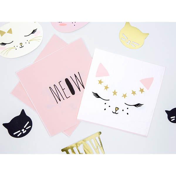 Servietten ''Kitty'', weiss, Katzengesicht rosa-gold-schwarz, 20er Pack, 33 x 33cm, Dekobeispiel