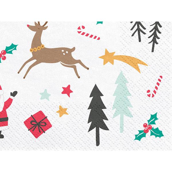 Servietten ''MERRY CHRISTMAS'', weiss, bunt, Nikolaus, Schneemann, Rehe, 33 x 33cm, Detail
