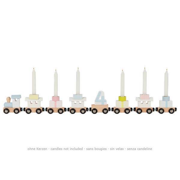 Geburtstags-Zug, Holz pastellbunt, Lok, 7 Anhaenger, austauschbare Zahlen 1 - 6, L 56,5 cm, Seitenansicht