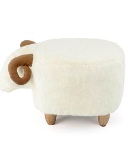 Hocker Le Mouton, Schafform, Polyester weiss, Beine Holz natur, 36x32x62, Seitenansicht