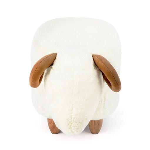 Hocker Le Mouton, Schafform, Polyester weiss, Beine Holz natur, 36x32x62, Vorderansicht