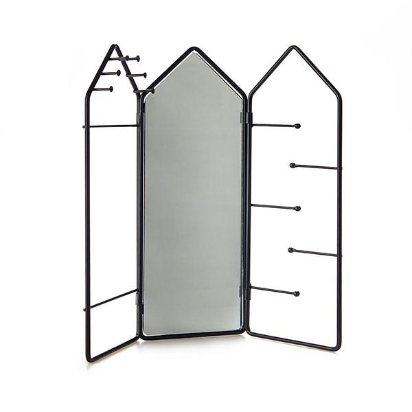 Schmuckstaender House, 3 Teile mit Scharnieren, Spiegel, Metall schwarz, 29,5x32,5x2 cm