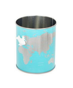 Schreibutensilienbehälter Globe, Metall tuerkis, Weltkartendesign silber, D 8,5 x H 10 cm