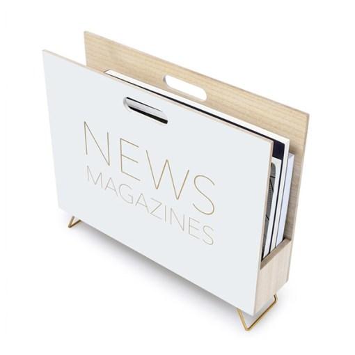 Zeitungsstaender News, Holz weiss, innen natur, 2 Griffloecher, MDF-Holz, 32x38x9 cm, Seitenansicht