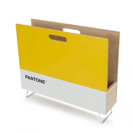 Zeitungsstaender Pantone, 2 Griffloecher, Holz gelb-weiss, innen natur, 28x38x9 cm