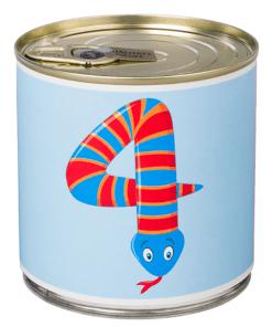 4 Cancake ''Numbers Kids Animals'' Edition Zahl 4 Schlange hellblau Brownie, D circa 8,5 cm, BALLONI