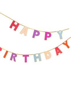 Buchstaben-Girlande ''HAPPY BIRTHDAY'', pink-rosa-lila mit Goldrand, doppelt