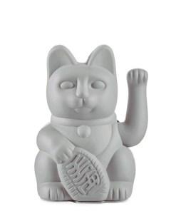 Lucky Cat, Kunststoff grau, 1x AA-Batterie (nicht enthalten), 15 x 10,5 cm