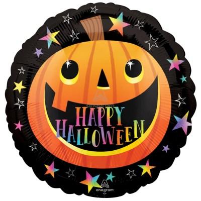 Smiley ''Happy Halloween Pumpkin'' Folienballon, rund, D circa 45 cm