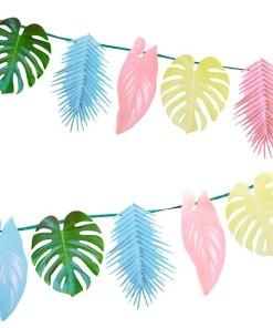 Tropenblaetter-Girlande, Papier gruen, rosa, hellblau, hellgelb, L 150 cm, Dekobeispiel 2fach