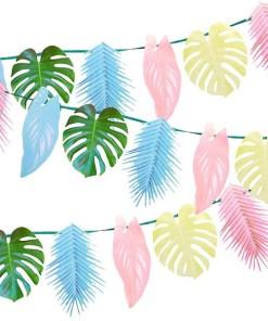 Tropenblaetter-Girlande, Papier gruen, rosa, hellblau, hellgelb, L 150 cm, Dekobeispiel 3fach