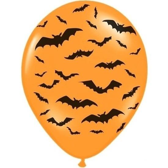 6x Oranje/zwarte Halloween ballonnen 30 cm met vleermuizen print