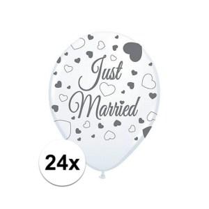 24x Just Married ballonnen 30 cm bruiloft versiering