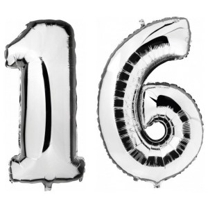 Sweet 16 zilveren folie ballonnen 88 cm leeftijd/cijfer 16 jaar
