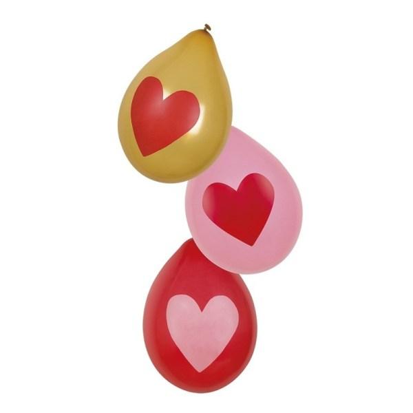6x stuks hartjes ballonnen Rood, roze en goud 30 cm