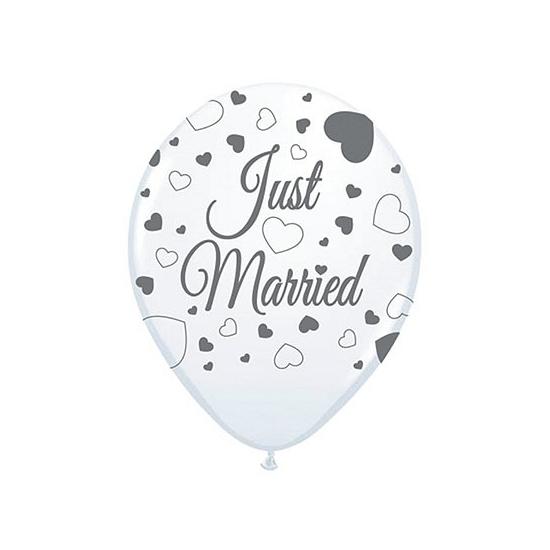 8x stuks Just Married bruiloft thema versiering ballonnen