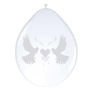 8x stuks ballonnen wit met duifjes 27 cm