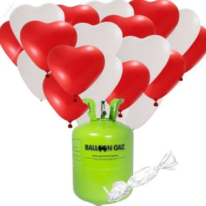 Valentijn / bruiloft pakket 48 hartjes ballonnen met helium tank