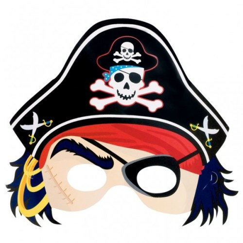 Μάσκα πειρατή με καπέλο (6 τεμ)