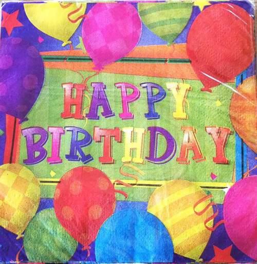 Χαρτοπετσέτες Happy Bday με μπαλόνια (20 τεμ)