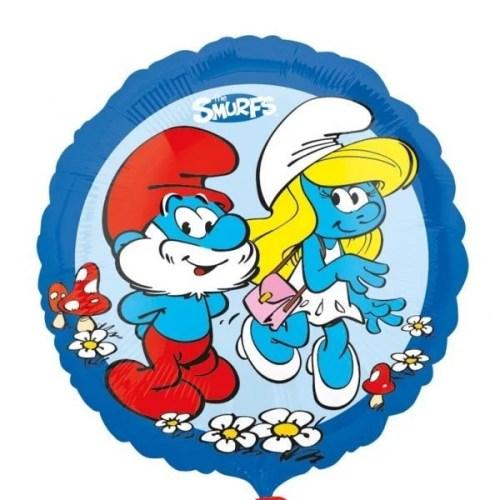 Μπαλόνι Μπαμπαστρούμφ και Στρουμφίτα μπλε στρογγυλό