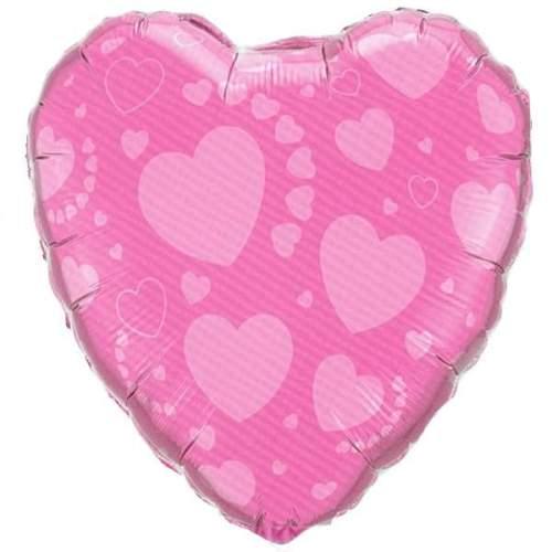 Μπαλόνι αγάπης Καρδιά Ροζ με καρδιές 45 εκ
