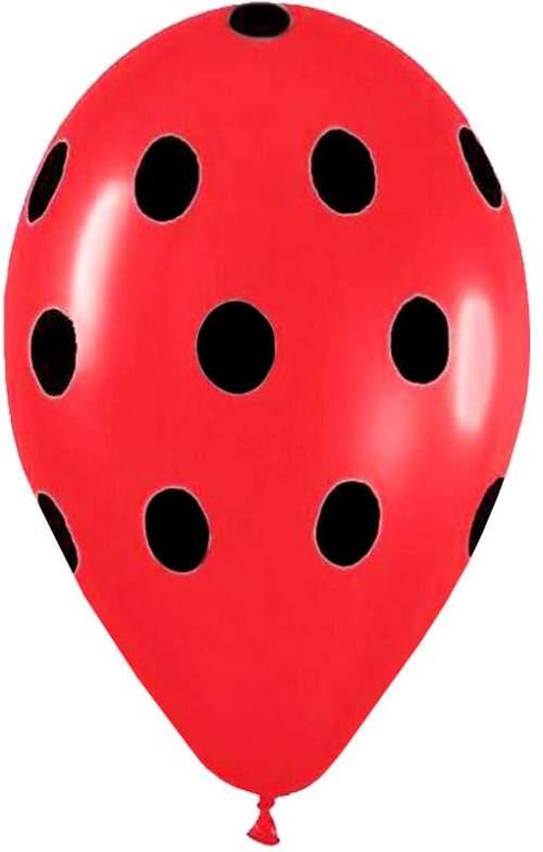 """12"""" Μπαλόνι κόκκινο με μαύρο πουά"""