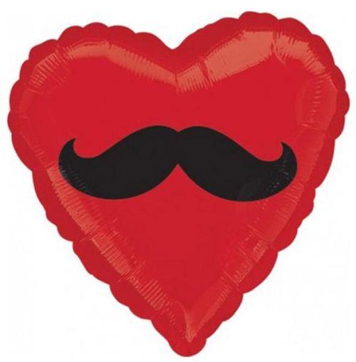 Μπαλόνι αγάπης Καρδιά κόκκινη με Μουστάκι