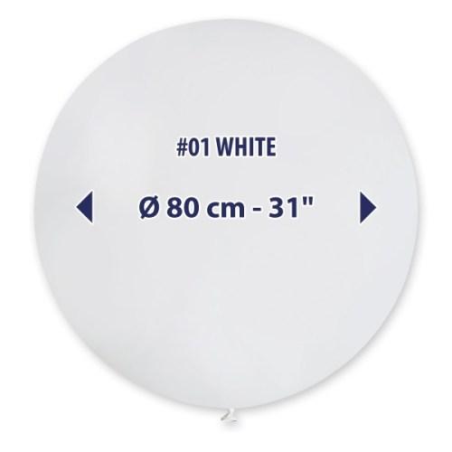 80cm - 31'' Άσπρο μεγάλο μπαλόνι