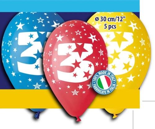 """12"""" Μπαλόνι γενέθλια Νο 3 (5 τεμ)"""